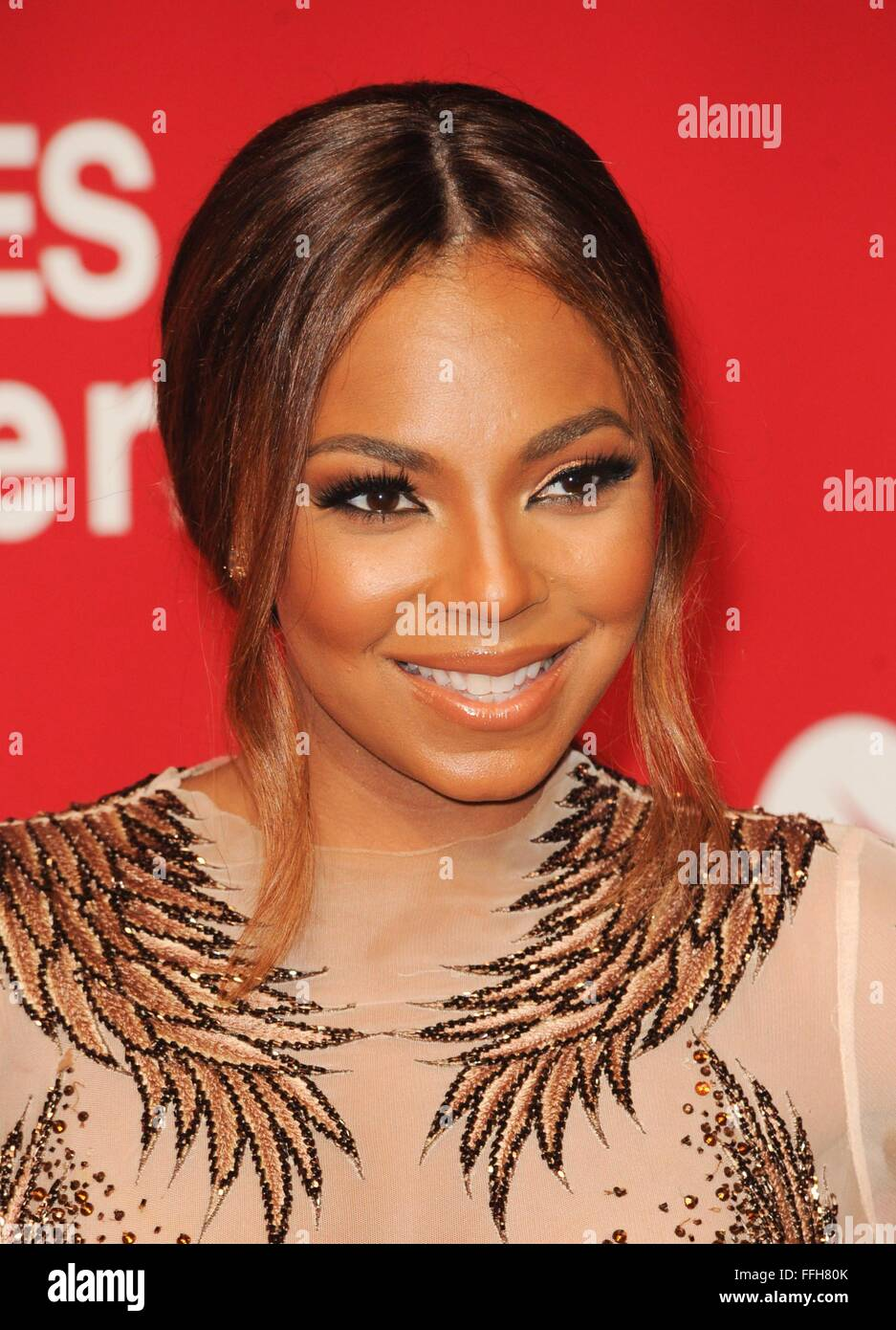 Los Angeles, CA, USA. 13th Feb, 2016. Ashanti at arrivals for MusiCares Person Of The Year Dinner, Los Angeles Convention Stock Photo