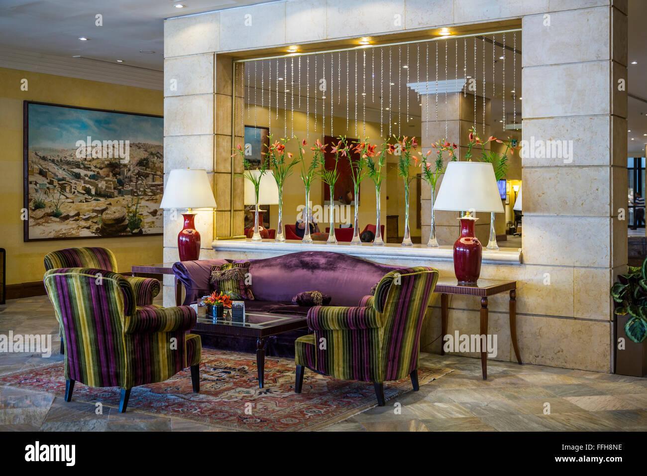 interior decor of the intercontinental hotel in amman hashemite kingdom of jordan middle east