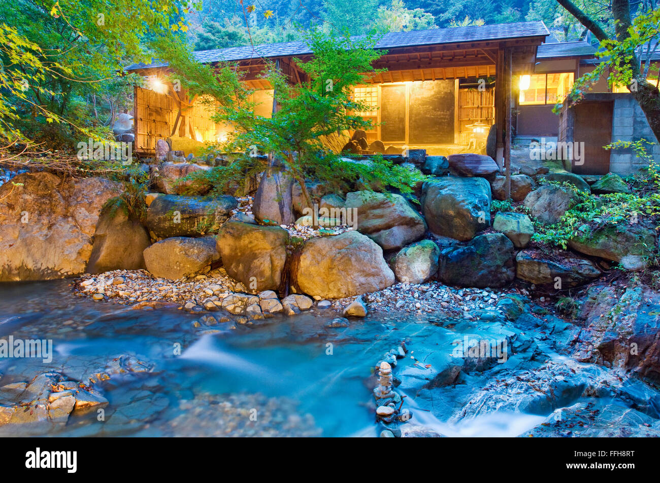 The Japanese outdoor onsen baths at Misatokan in Gunma, Japan Stock ...