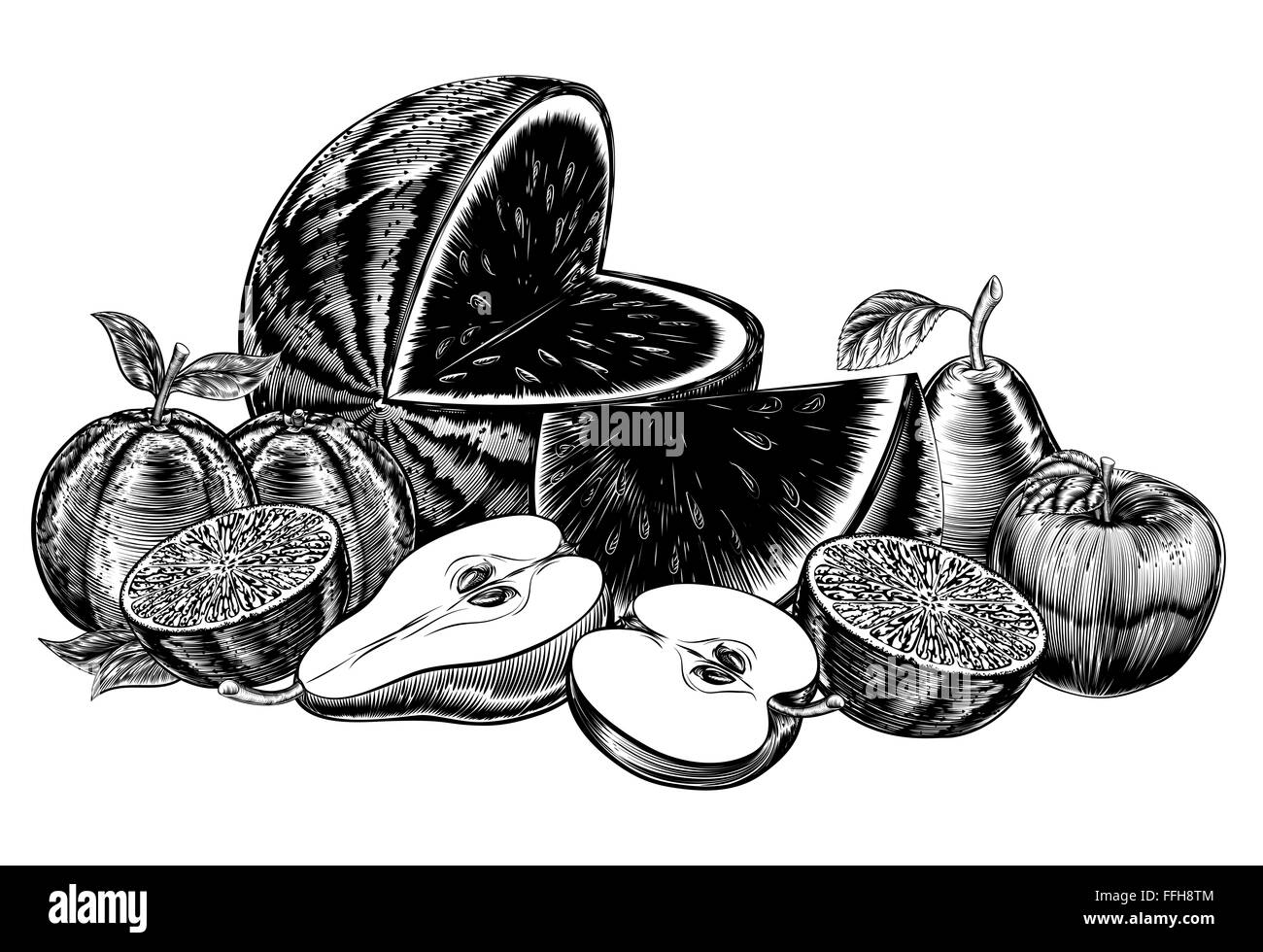 An original illustration of a fruit in a vintage woodcut or woodblock style, including apples, pears, water melon, - Stock Image
