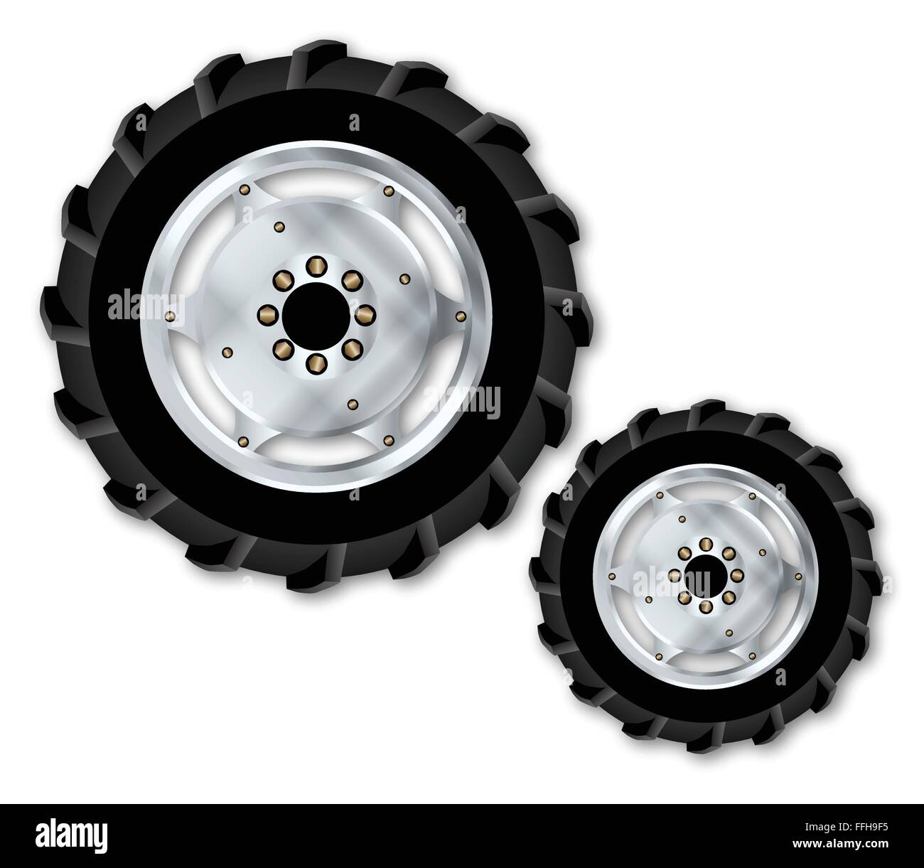 Front and rear wheels from a typical tractor over a white background - Stock Vector