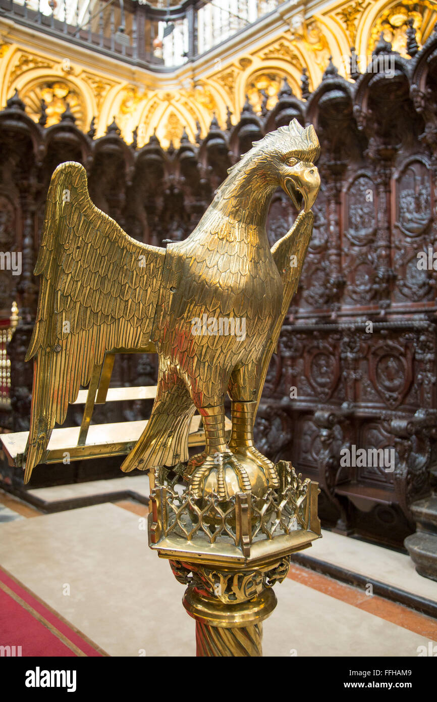 Brass eagle lectern inside the Catholic cathedral, former great mosque, Cordoba, Spain - Stock Image