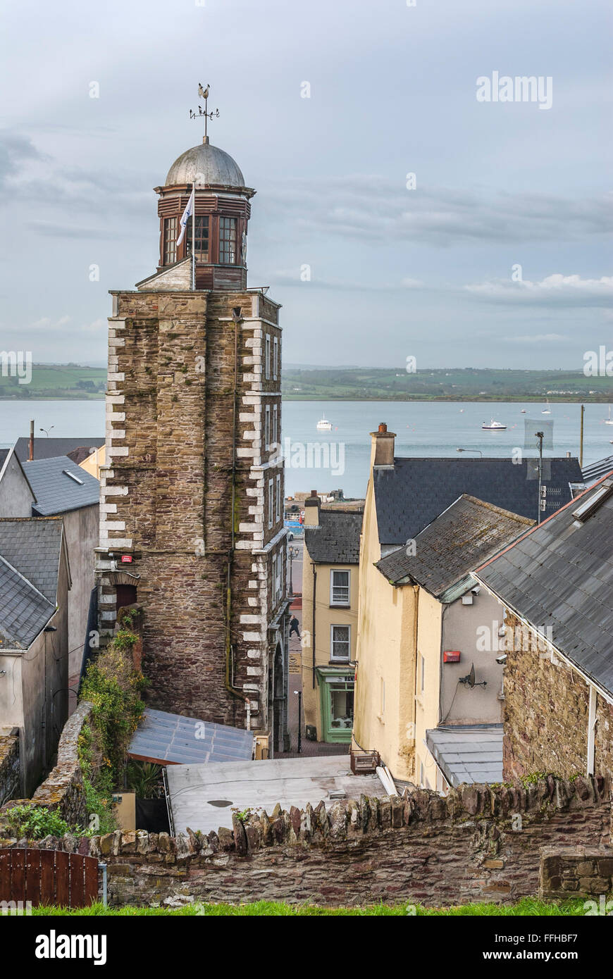 Historical Clock Tower of Youghal, Ireland | Historischer Uhrturm von Youghal am Black Water River, Irland - Stock Image