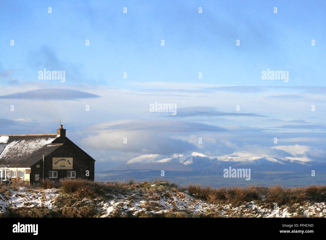 Hartside cafe overlooking the Eden Valley in Cumbria - Stock Image