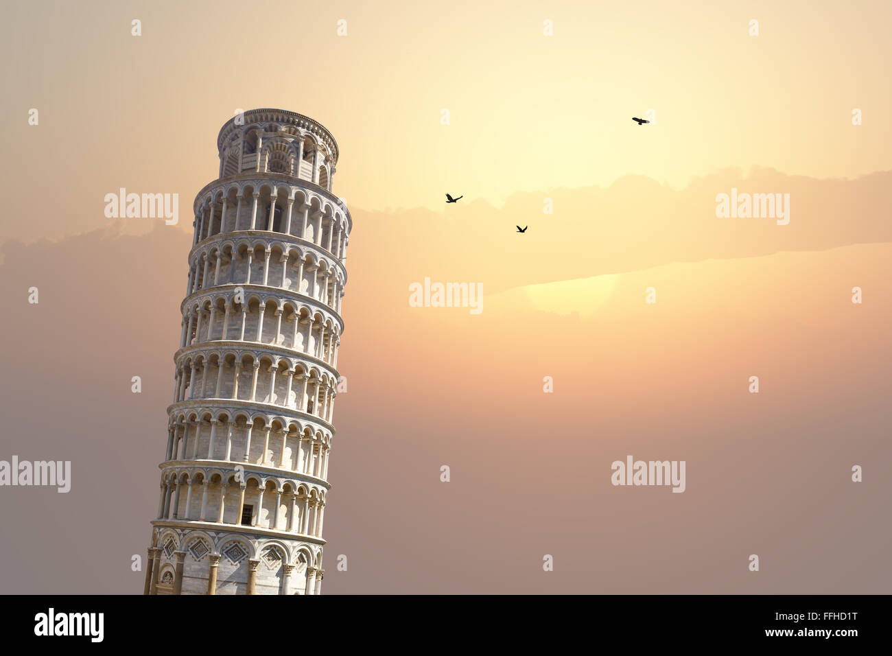 View of historical Pisa Tower in Cathedral Square of Pisa, Italy, on