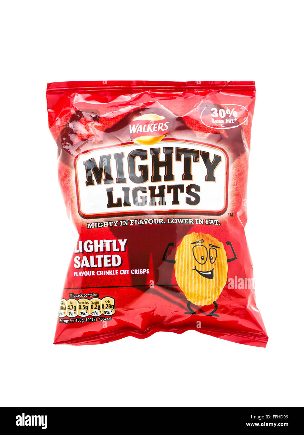 Bag Of Walkers Mighty Lights Low Fat Crisps on a White Background - Stock Image