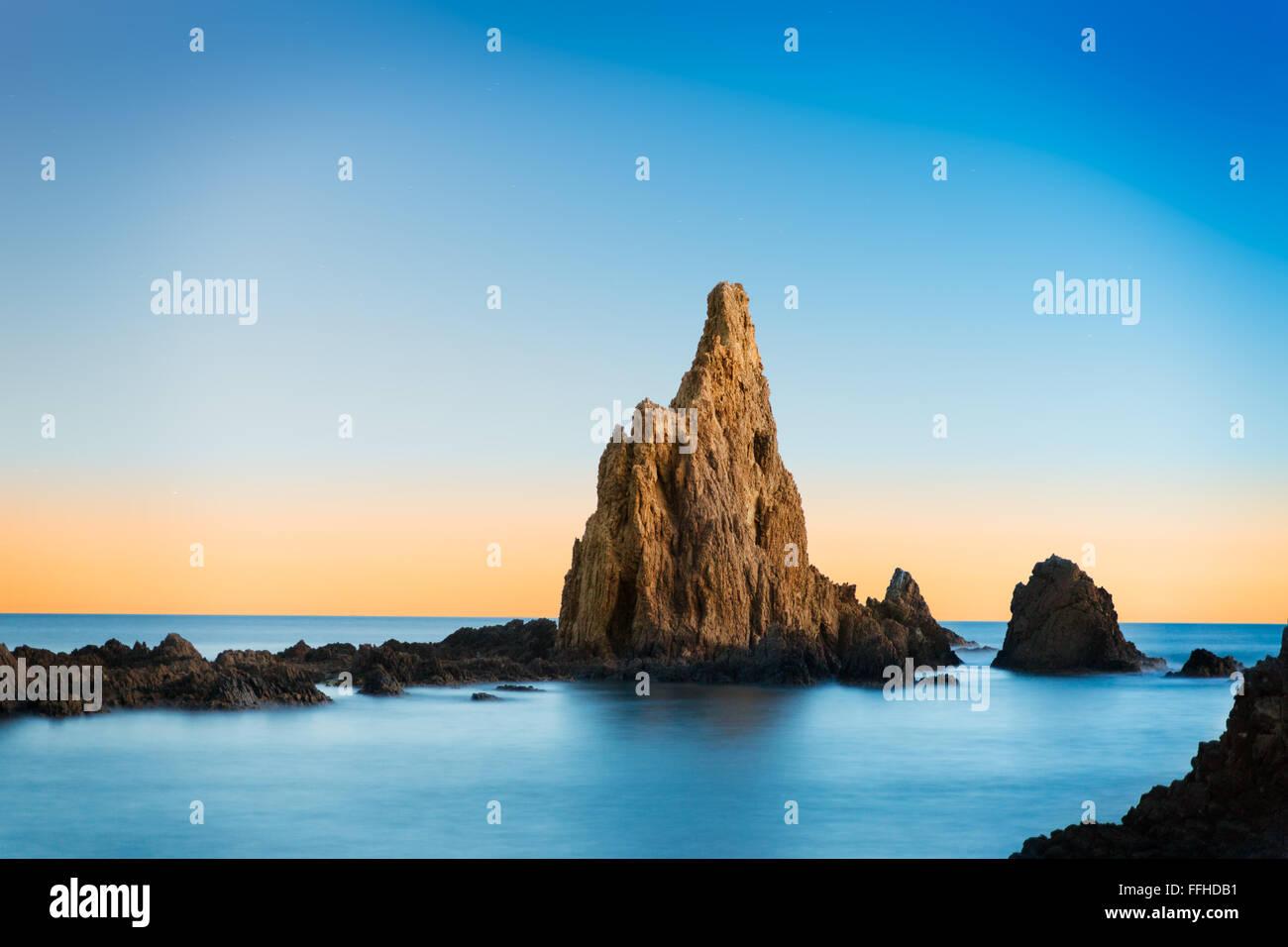 Rock in Mediterranean sea near Cabo de Gata, Spain Stock Photo