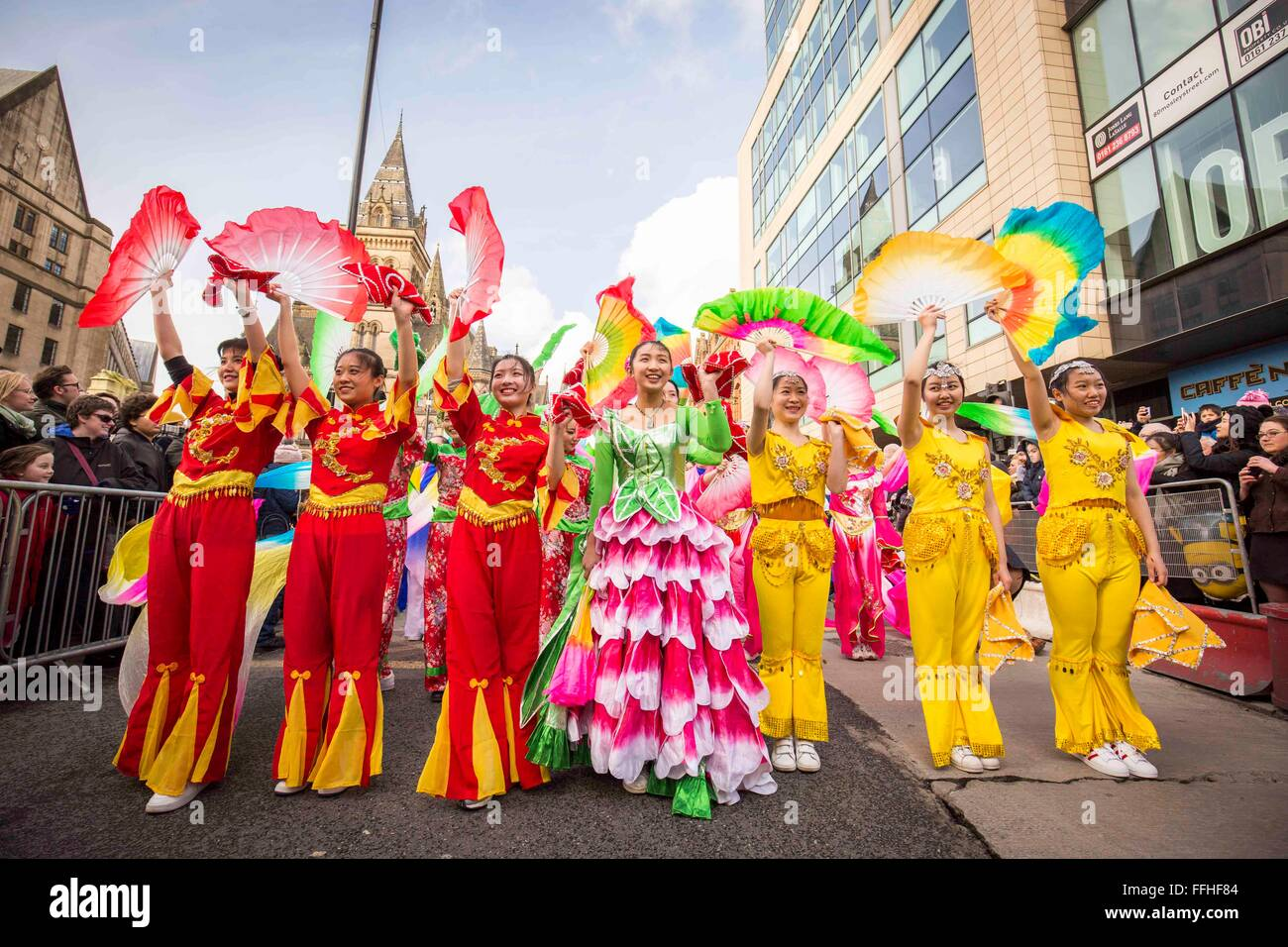 Manchester celebrates Chinese New Year today (Sunday 7th Feb 2016) with a dragon parade and traditional dancing - Stock Image