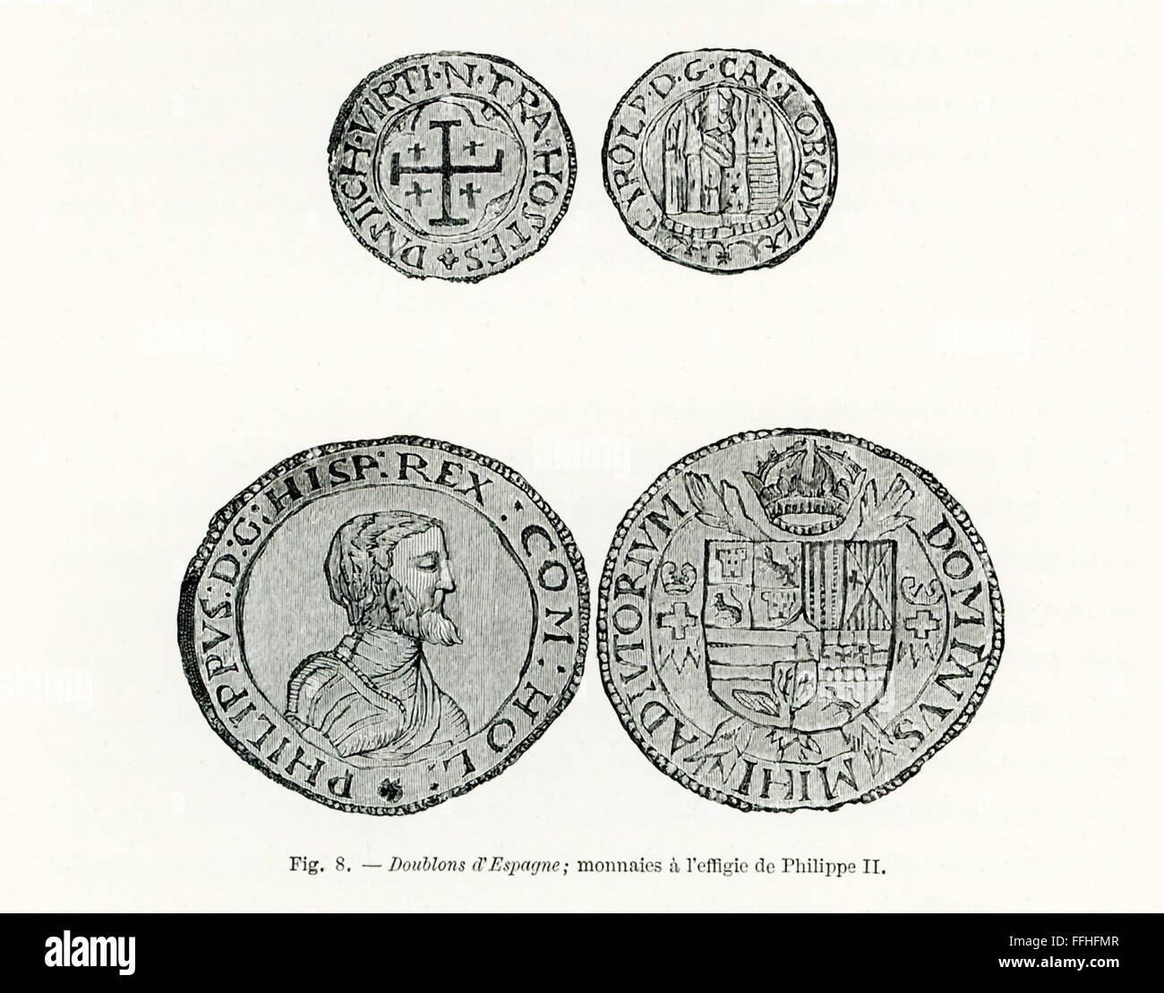 Shown here are late 1800s engravings of Spanish doubloons. The portrait here is Philip II of Spain. He ruled Spain - Stock Image