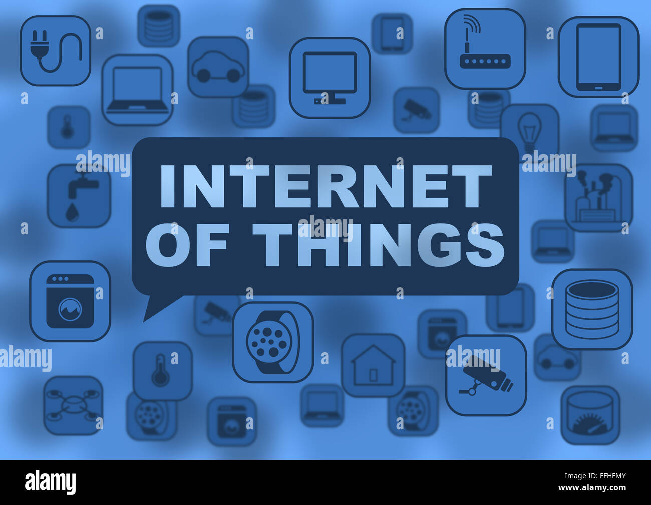 Internet of things illustration with various objects flying around like notebooks, tablets, smart watches, routers, - Stock Image