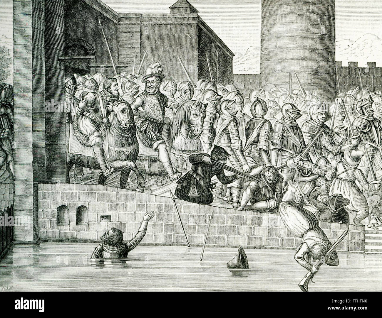 This engraving shows the entry of Henry IV in Paris with more than 1,000 armed cavalry, known as cuirassiers. The Stock Photo
