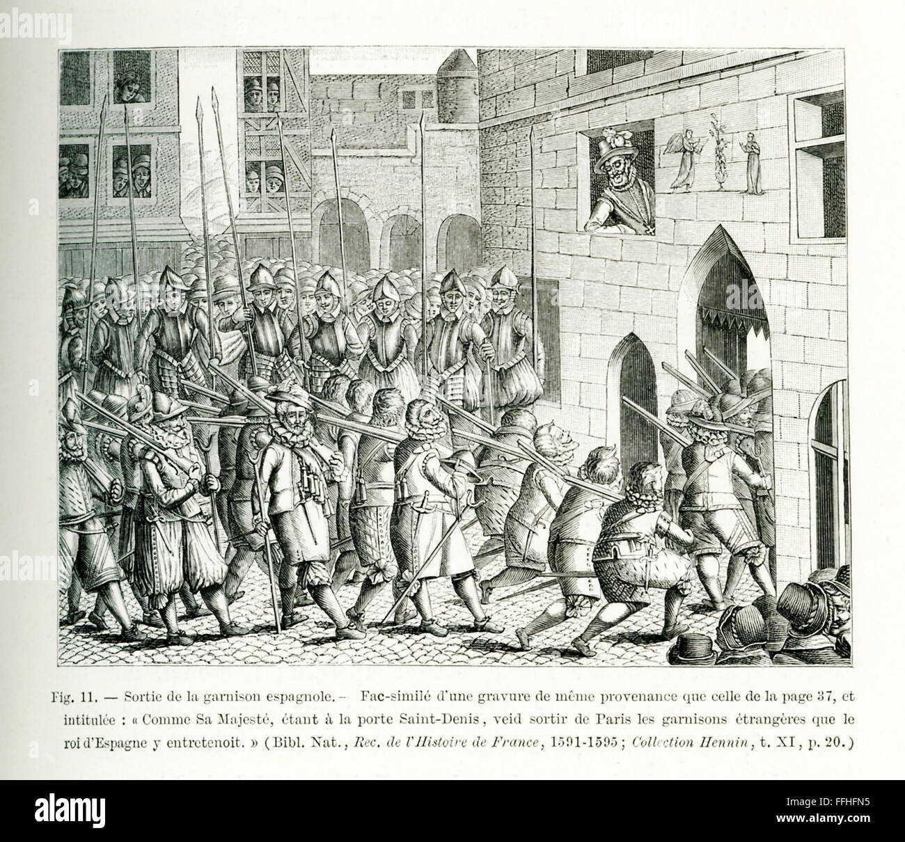 This illustration is taken from the Record of the History of France 1591-1594, and it shows the Spanish contingent - Stock Image
