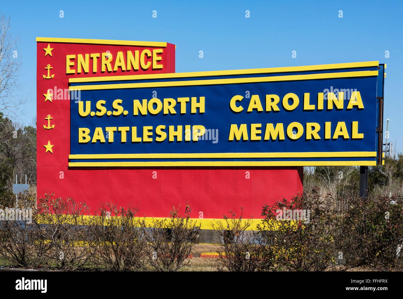 Entrance to the museum battleship USS North Carolina, Wilmington, North Carolina, USA - Stock Image