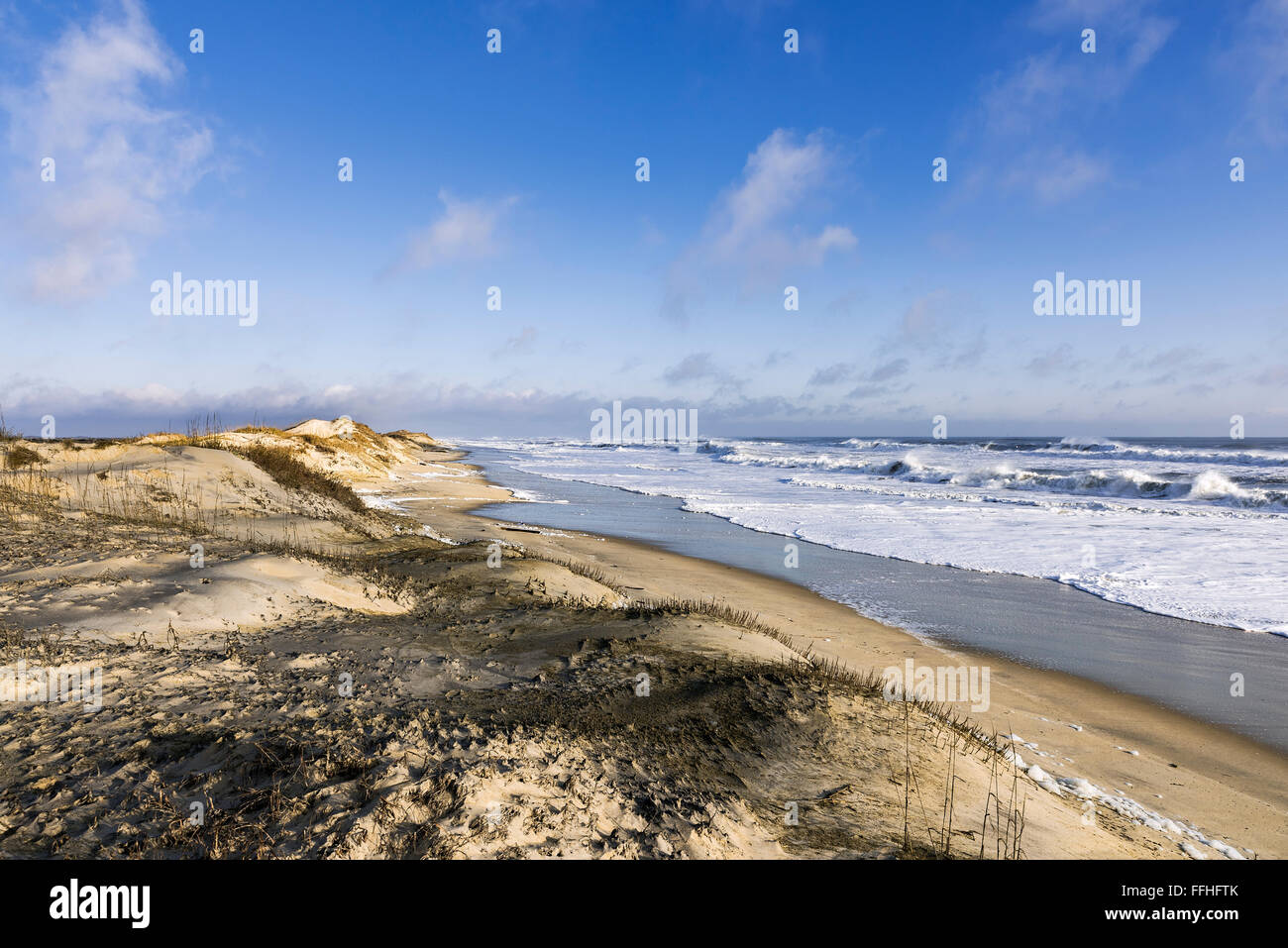 Pristine beach along Cape Hatteras National Seashore, Outer Banks, North Carolina, USA - Stock Image