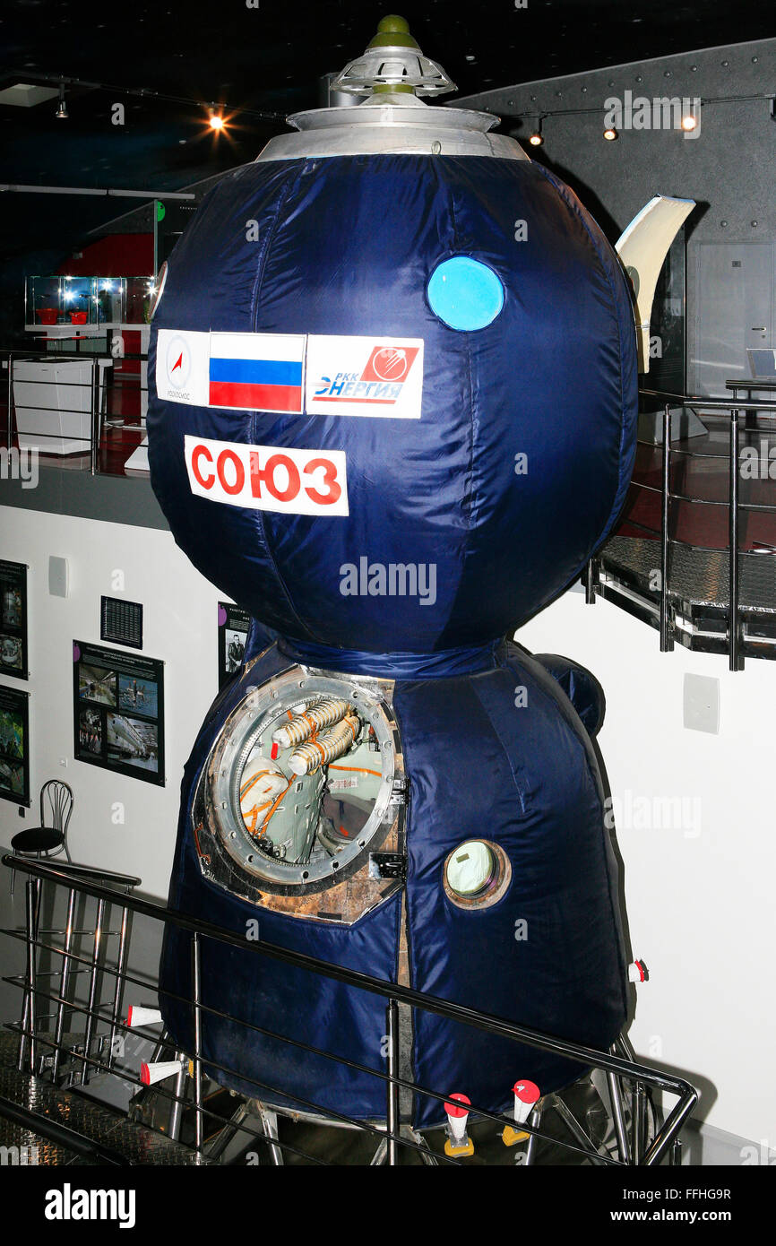 A Soyuz spacecraft at the Memorial Museum of Cosmonautics in Moscow, Russia - Stock Image