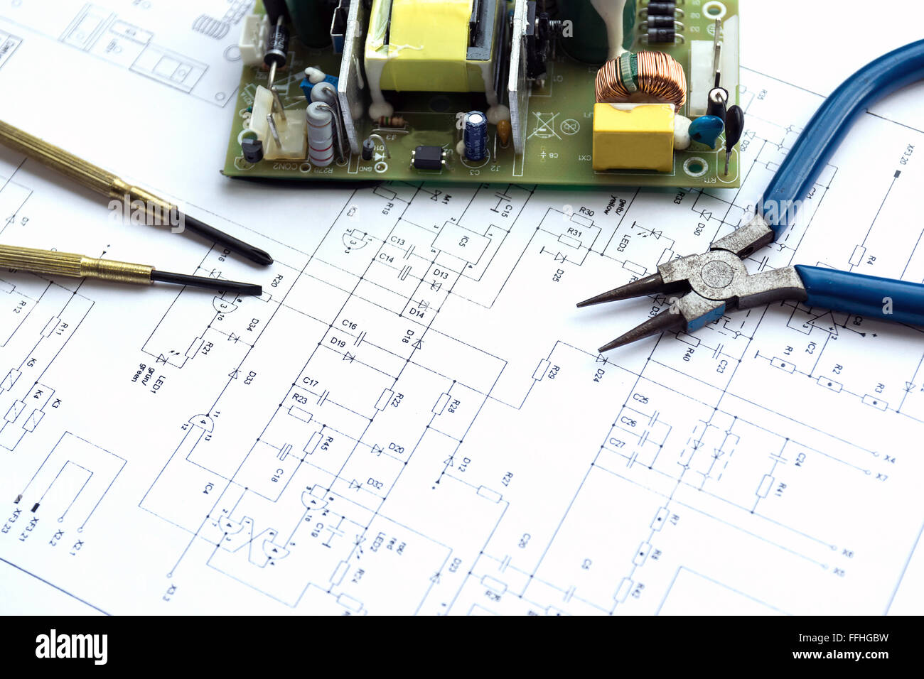 Paper Capacitor Stock Photos Images Alamy Circuit Board Printed With Electrical Component And Precision Tools Lying On Construction Drawing Of Electronics