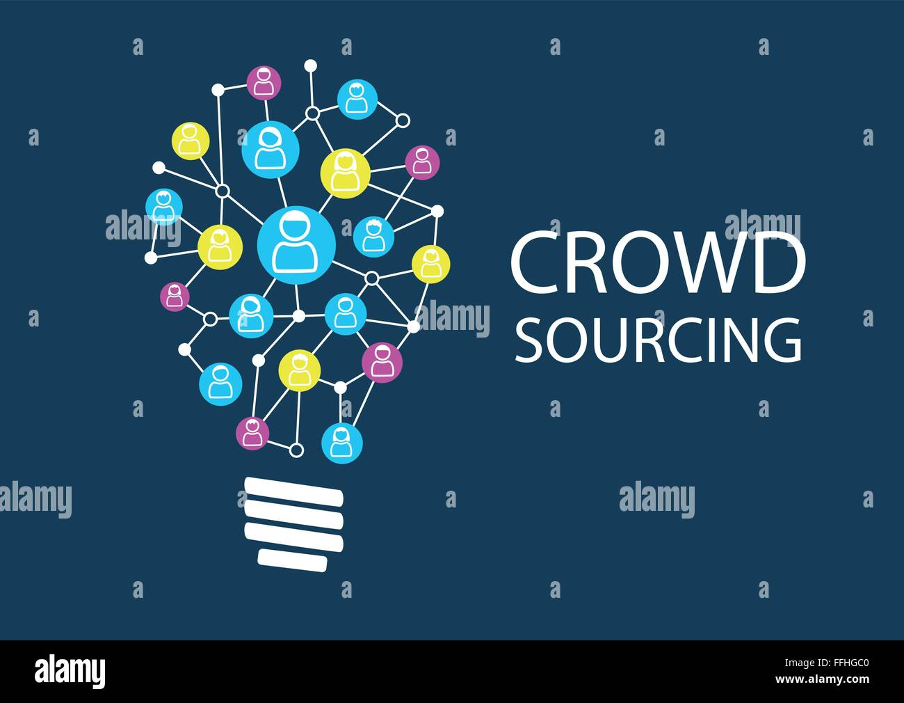 Crowd sourcing new ideas via social network brainstorming. Ideation for finding disruptive business models represented Stock Vector