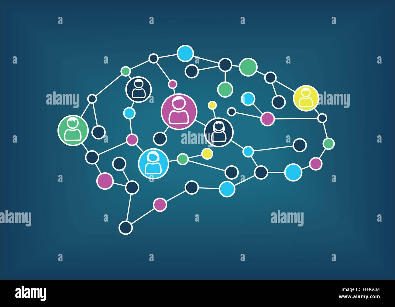 Swarm intelligence or crowd sourcing concept. Vector illustration of simplified brain with connections between nodes. - Stock Image