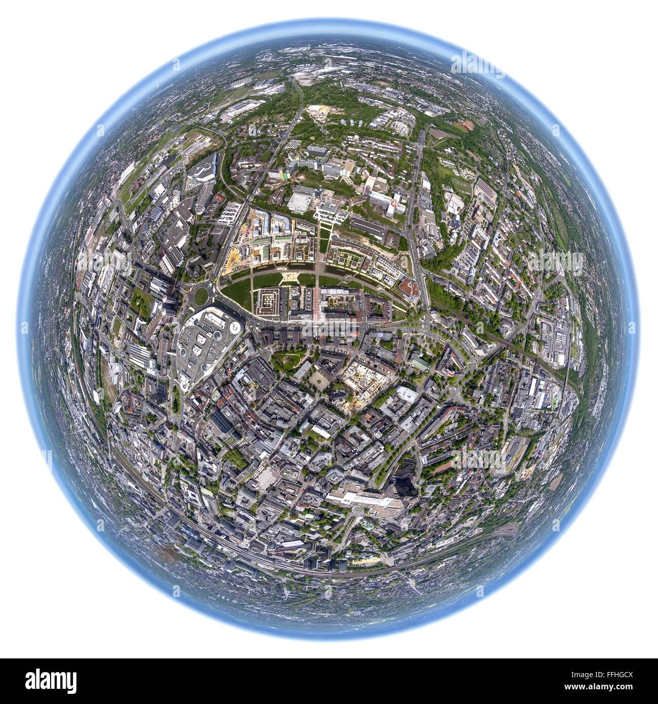Aerial view, the university district Essen, city center, Green Centre Essen, fisheye image, Essen center, Globe - Stock Image