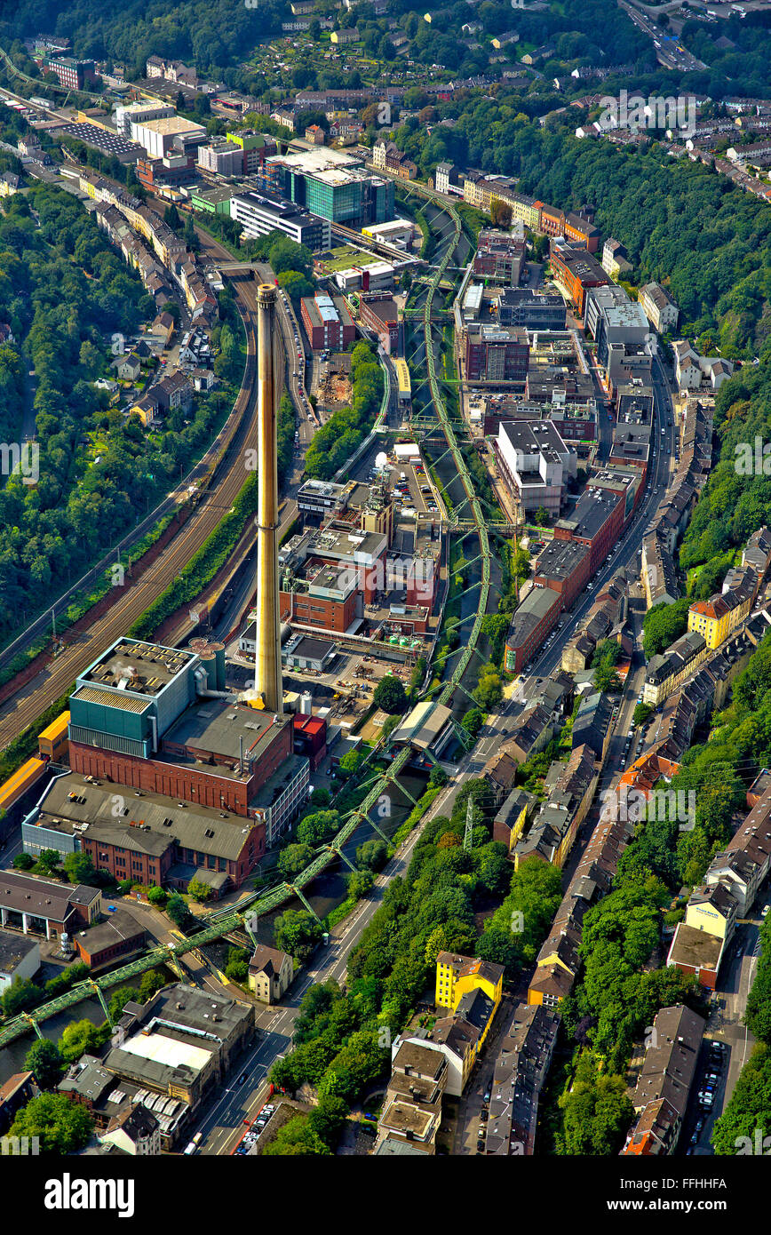 Aerial view, Bayer Wuppertal plant, Chemical Park, Wuppertal suspension railway, steel framework, the Wupper valley, - Stock Image