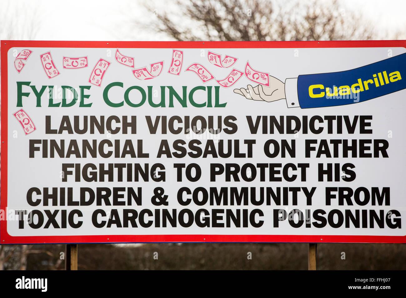 Anti fracking posters near Blackpool, Lancashire, UK. - Stock Image