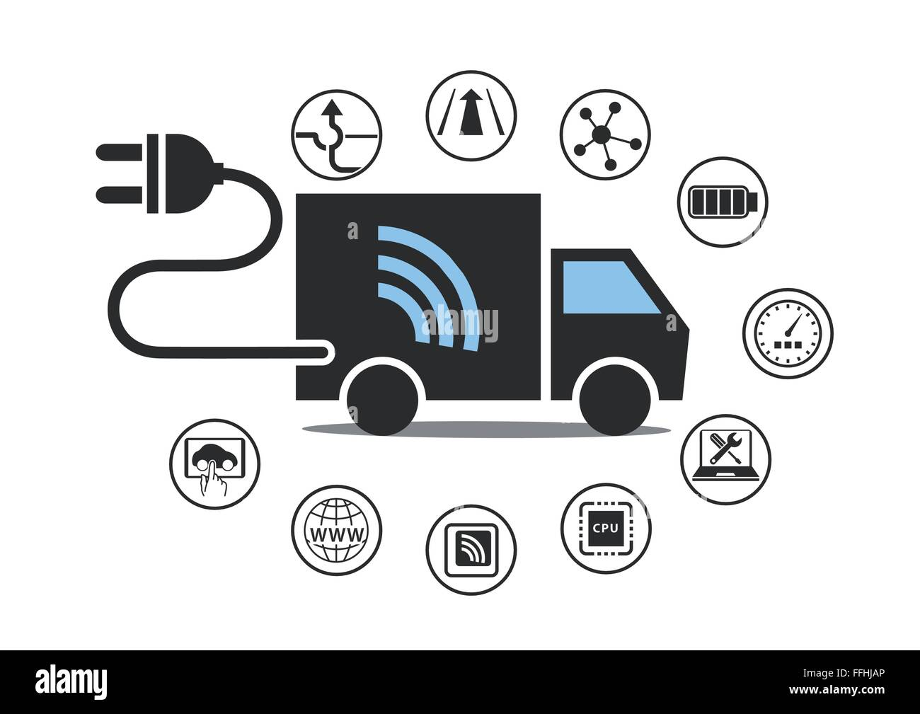 Electric truck symbol with power plug and various icons. Vector ...