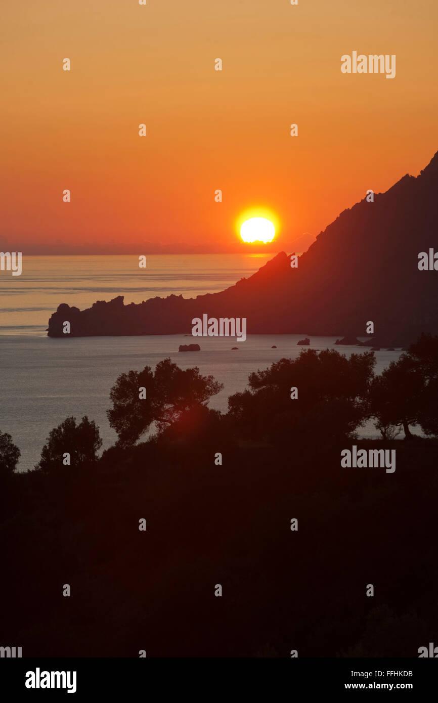 Griechenland, Kreta, Südwesten, Plakias, Sonnenuntergang - Stock Image