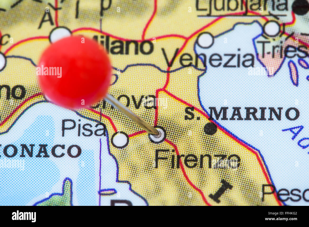 Close-up of a red pushpin in a map of Firenze (Florence), Italy ...
