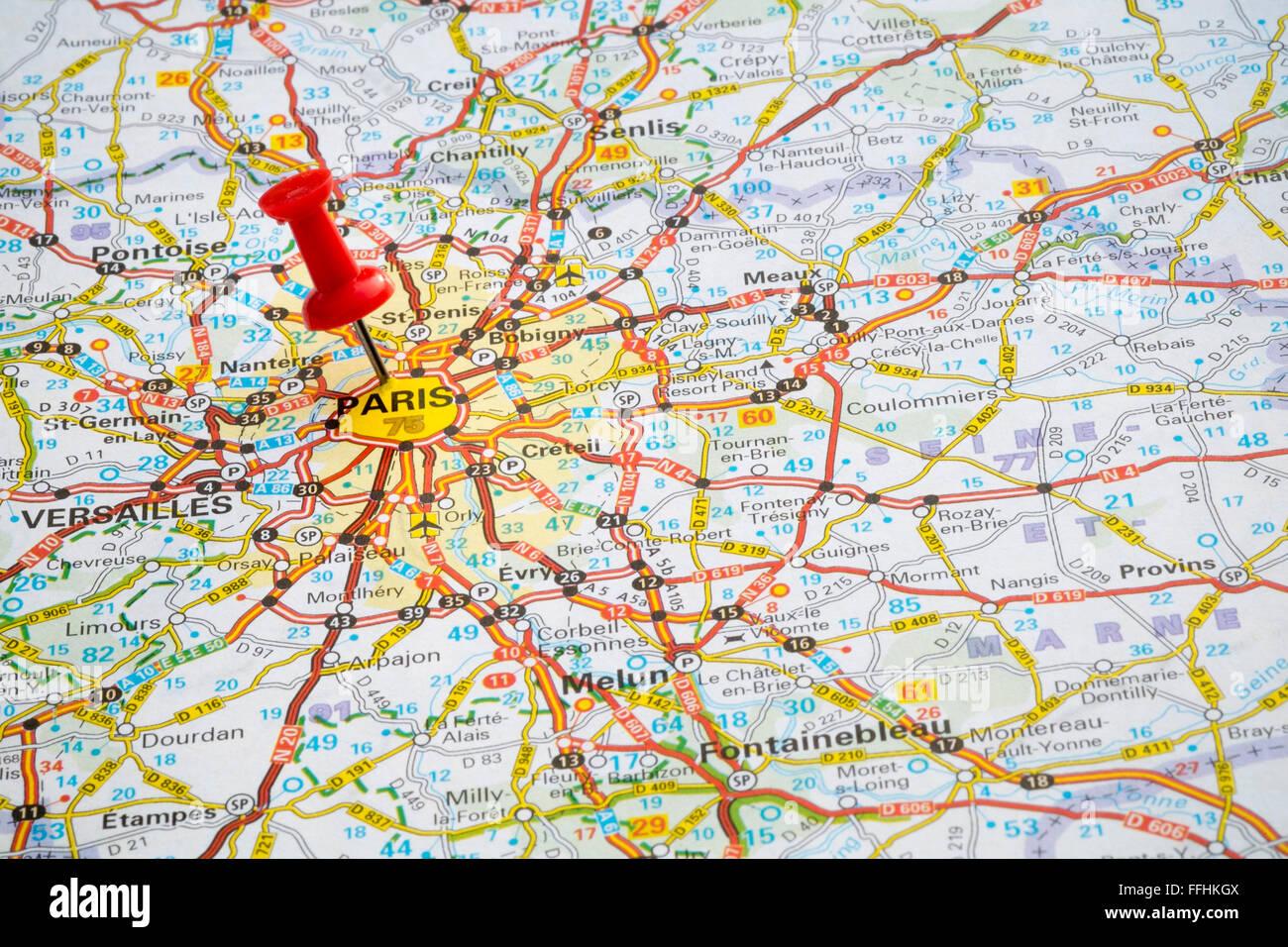 Map pin, Paris, France. - Stock Image