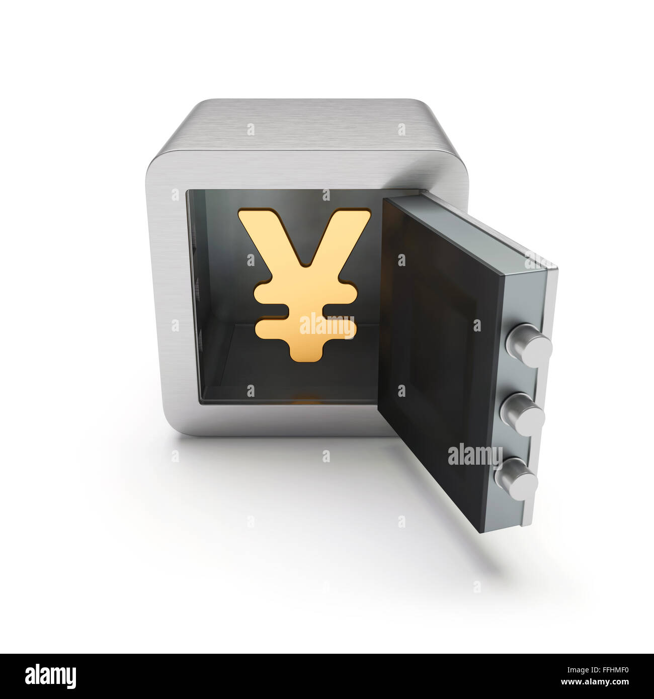 Open safe box with golden yen sign inside isolated on white background Stock Photo
