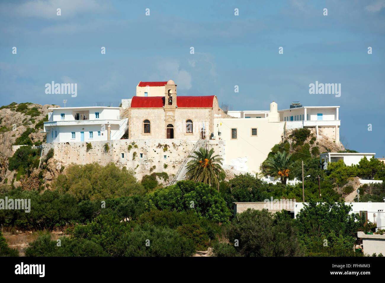 Griechenland, Kreta, Westküste, Kloster Hrissoskalitissa nördlich von Elafonissi. Die Legende sagt, dass - Stock Image
