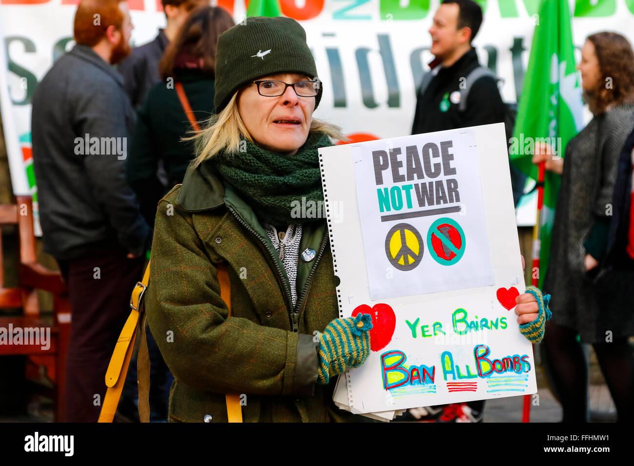 "Edinburgh, Scotland, UK. 14th Feb, 2016. The ""Stop Trident"" campaign held rallies across Scotland including Edinburgh Stock Photo"