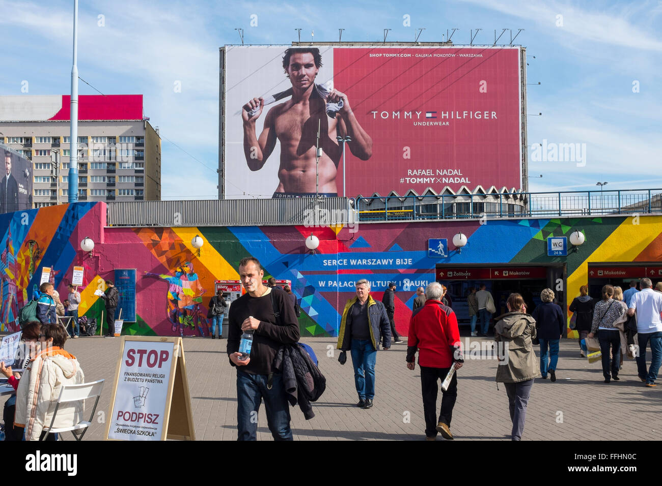 Rafael Nadal on Tommy Hilfiger billboard in central Warsaw, Poland - Stock Image