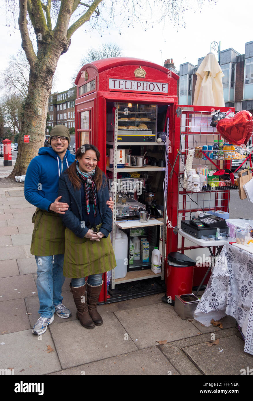 Telephone Box Cafe in Hampstead High Street kept by Alona and Umar Khalid - Stock Image