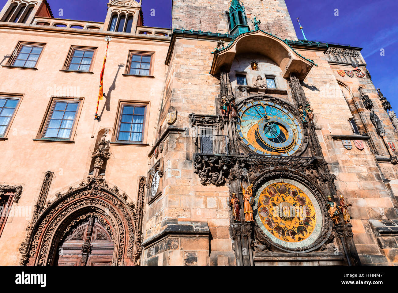 Astronomical Clock on the Old Town Square. - Stock Image