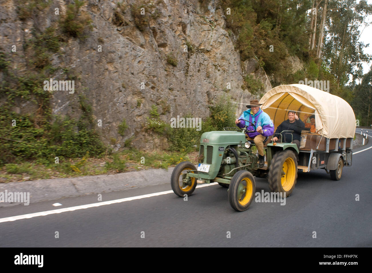 Way of St. James, Jacobean Route. One of the most interesting ways to do the way is to do aboard a vintage tractor. - Stock Image