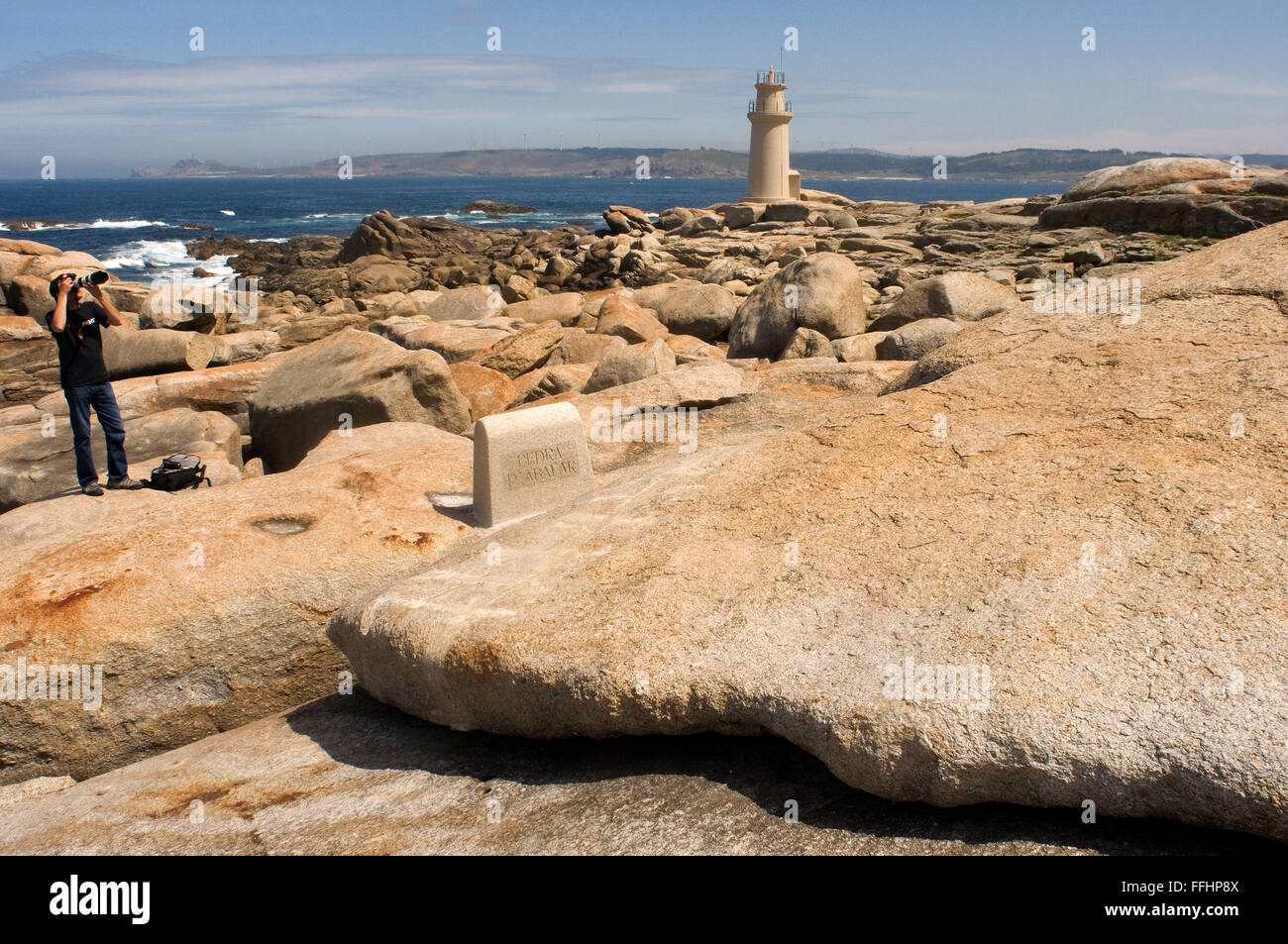 Way of St. James, Jacobean Route. Muxia. The 'Pedra de Abalar' Muxía are many properties are attributed, - Stock Image