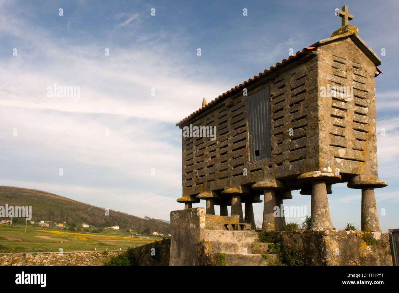 Way of St. James, Jacobean Route. A horreo next to San Salvador de Duio. Fisterra. Finisterre, A Coruña. St. - Stock Image