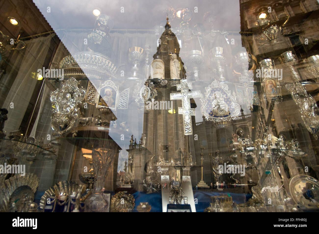 Way of St. James, Jacobean Route. Souvenir and religious objects shop. Santiago de Compostela. St. James's Way, - Stock Image