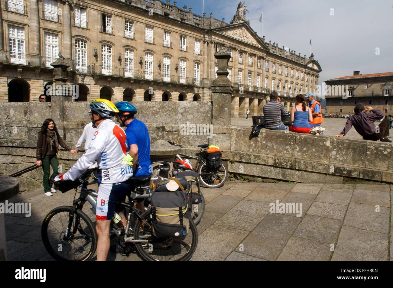 Way of St. James, Jacobean Route. Cyclists in the Obradoiro Square. Santiago de Compostela. St. James's Way, - Stock Image