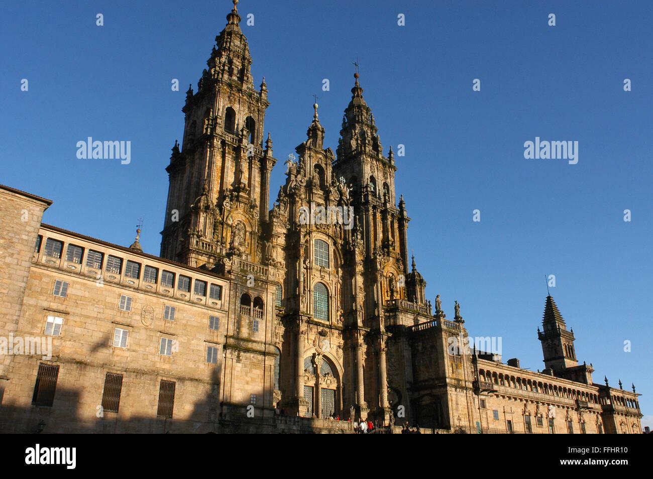 Way of St. James, Jacobean Route. Santiago's cathedral. Praza do Obradoiro. Santiago de Compostela. St. James's - Stock Image