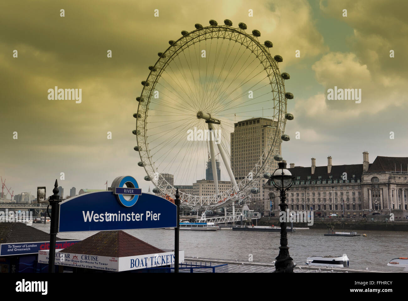 The London Eye wheel by the Thames river in London, United Kingdom. - Stock Image