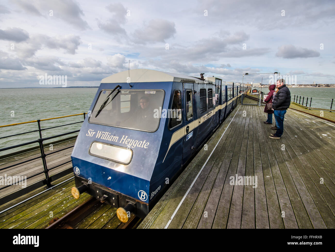 Southend Pier is a major landmark in Southend. Extending 1.34 miles (2.16 km) into the Thames Estuary, it is the - Stock Image