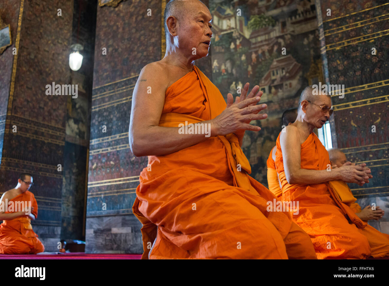 Buddhist Shrine Temple, Praying and Ordination Hall at Wat Pho, Bangkok, Thailand. Wat Pho (the Temple of the Reclining - Stock Image