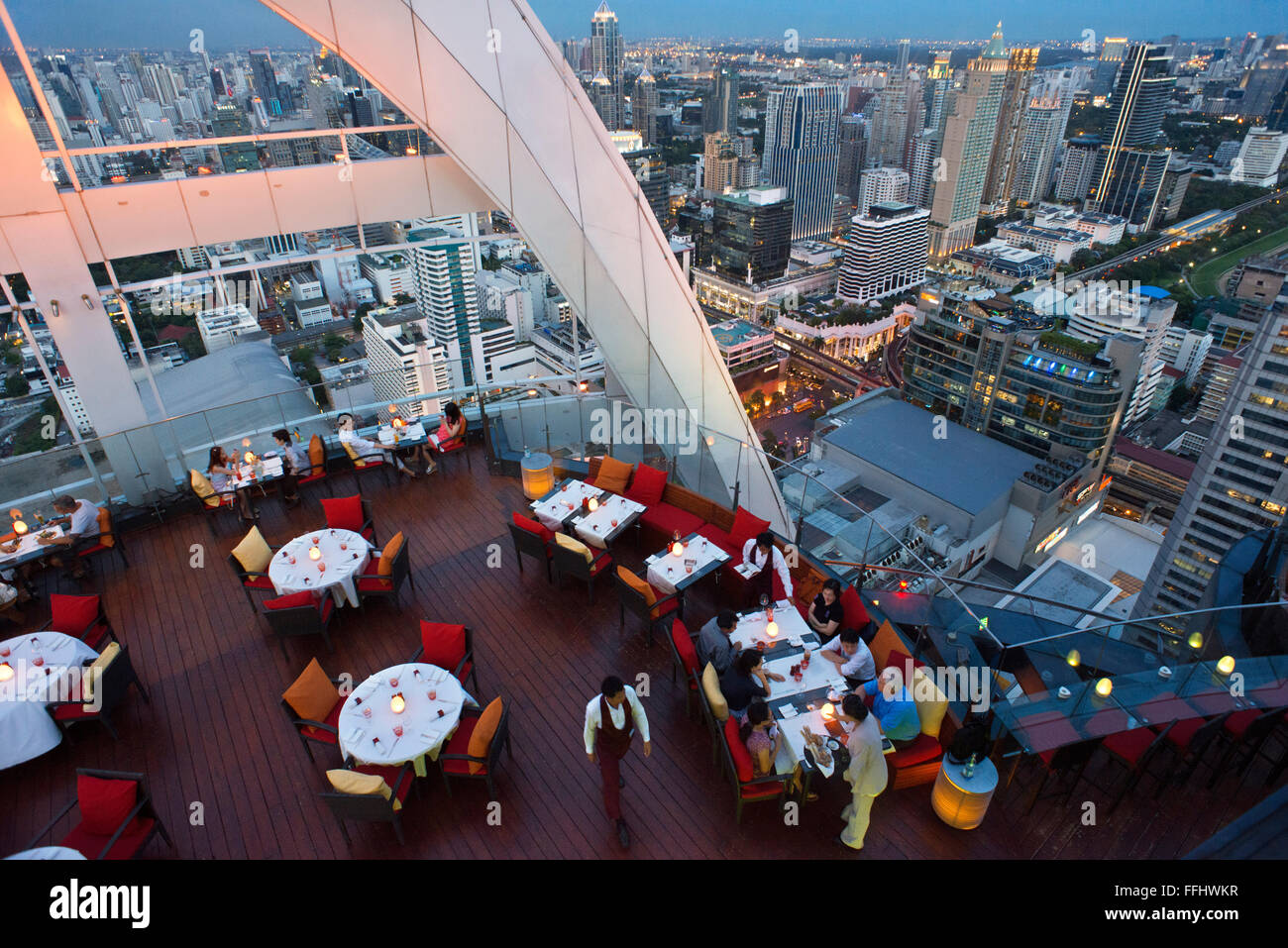 Red Sky Restaurant Rooftop. Bangkok. Thailand. On the top floor of the Centara Grand skyscraper in the city centre. - Stock Image