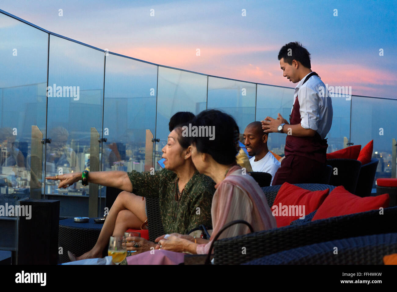 Red Sky Bar Rooftop. Bangkok. Thailand. On the top floor of the Centara Grand skyscraper in the city centre. The - Stock Image
