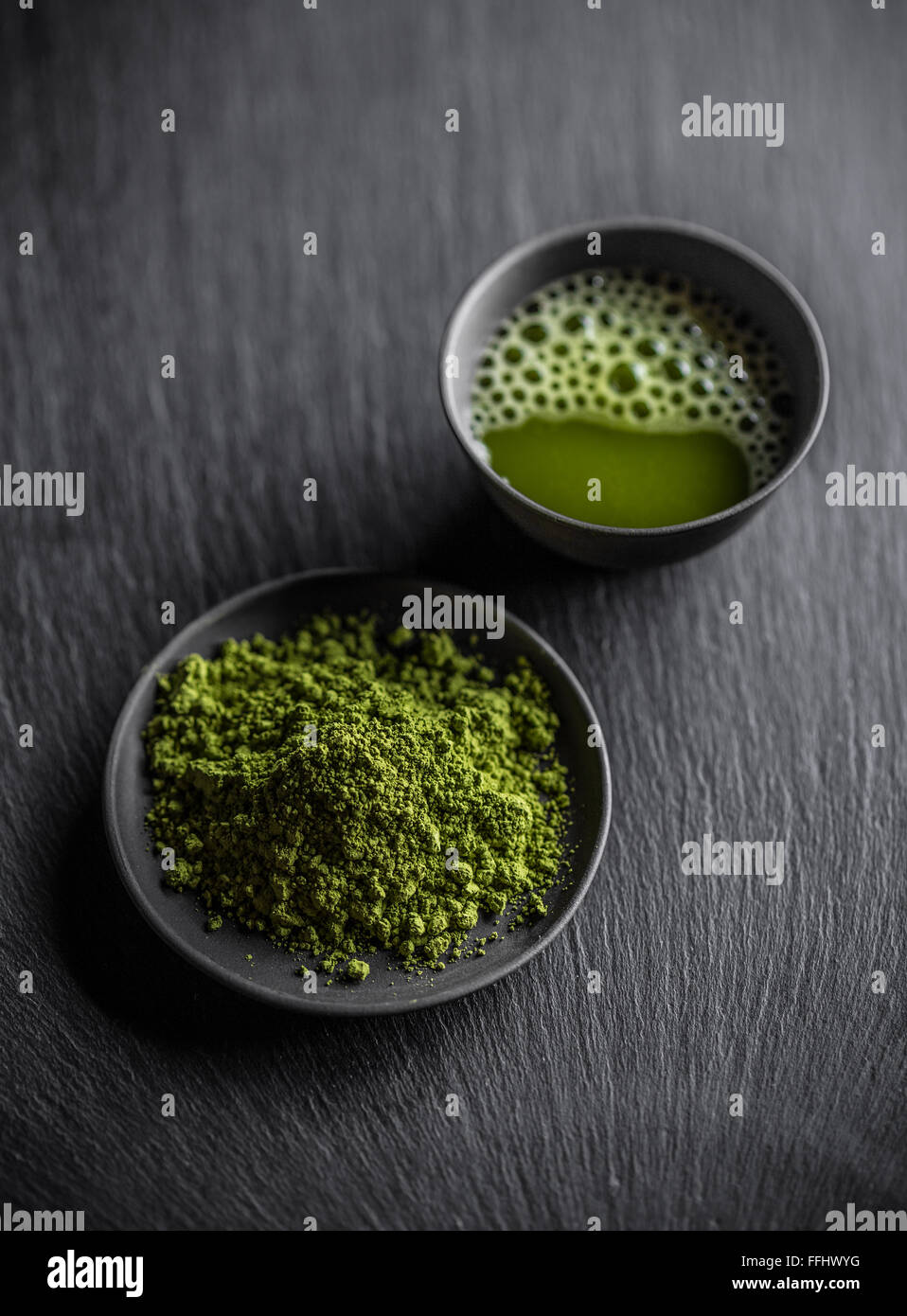 Matcha fine powdered green tea - Stock Image