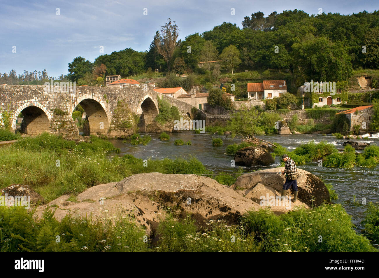 Way of St. James, Jacobean Route. Ponte Maceira, River Tambre, the most significant bridge all the way. It is a - Stock Image