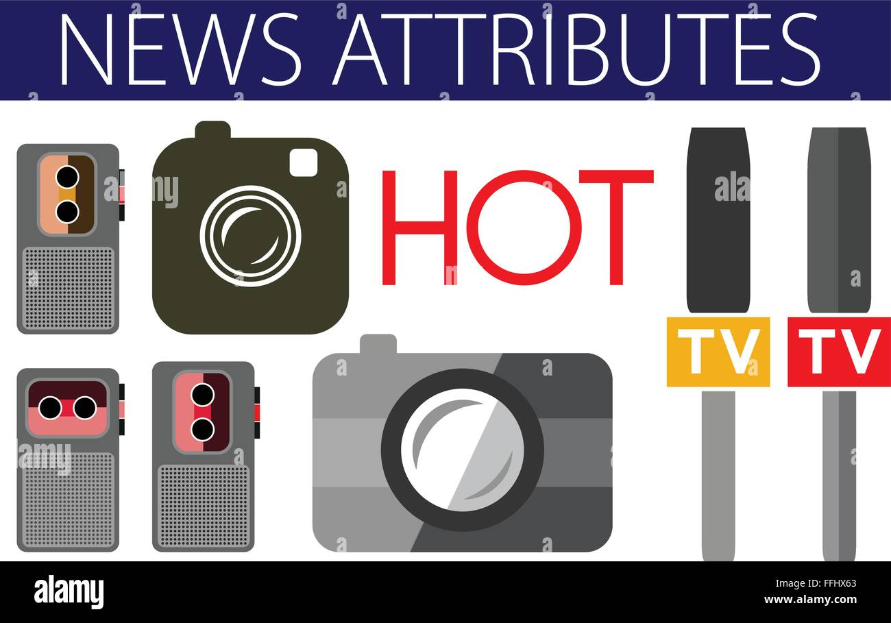 Hot news useful flat design icons. Devices: voice recorder, camera, digital camera, live, tv, mic. Vector illustration - Stock Image