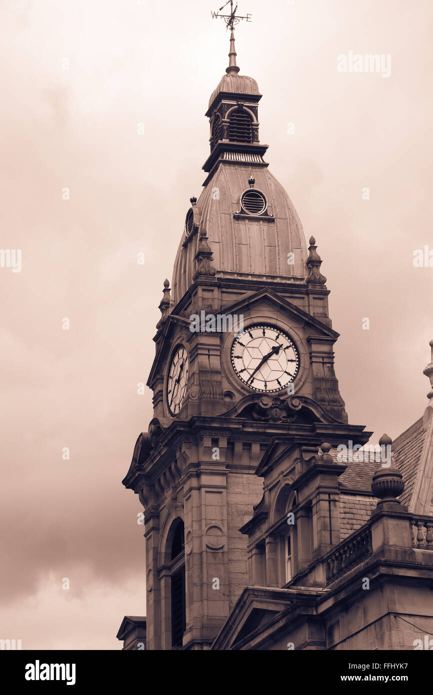 Sepia tone  image of Kendal Town Hall, Kendal, Cumbria, England - Stock Image